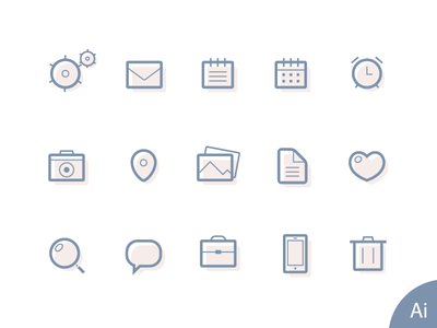 Free Lined Icons vector ai icon clock camera pin photo like search trash file line