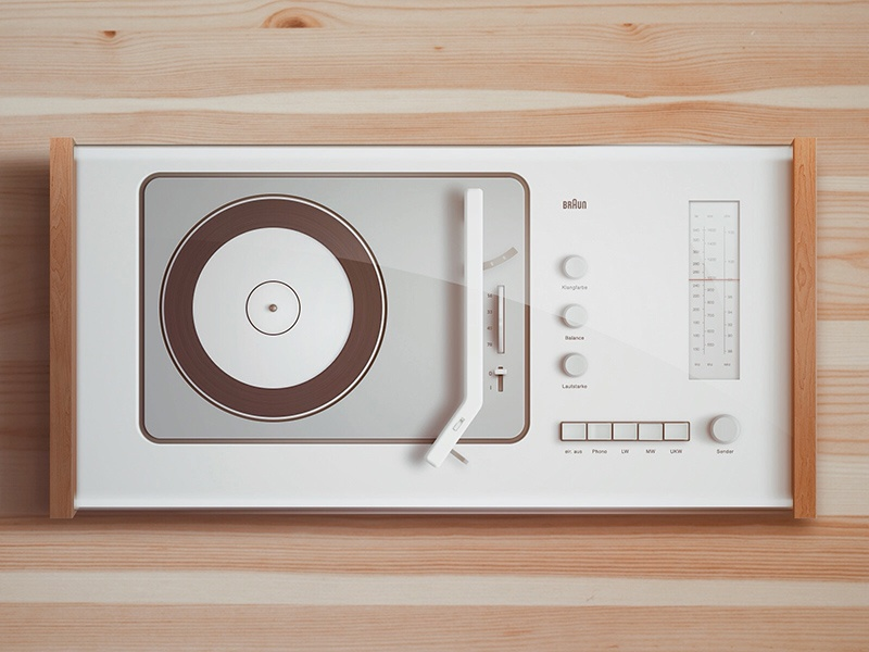 BRAUN SK5 braun buatoom turntable record player soft smooth music wood warm glass spin