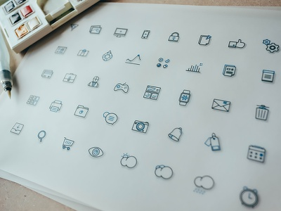 Fblu free icons lined shop cart graph filter trash mail print notification weather icon apple watch