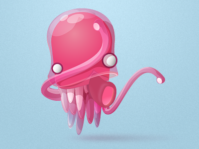 Jellypus character design illustration jelly pink reflect glass fish octopus buatoom