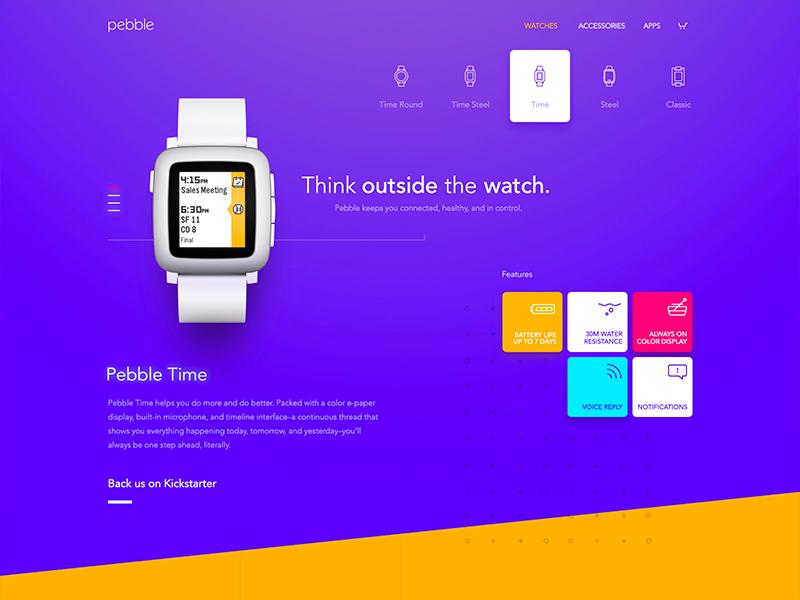 Pebble Site process color watch ui web