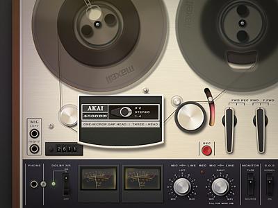 AKAI 400 DB Classic UI   ui classic tape deck stereo power switch buatoom wheel volume led rec play light meter record
