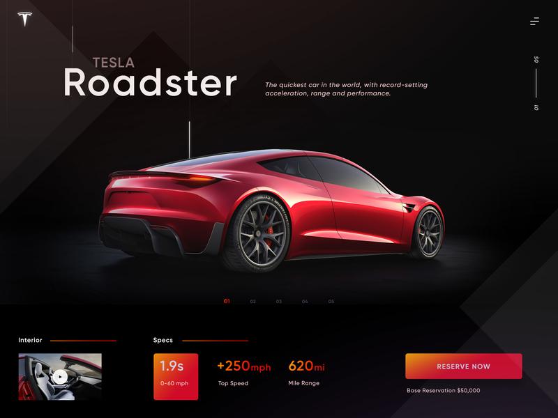 Tesla Specs Card web design clean ui buatoom
