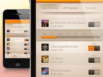 Showtime ui iphone alarm show buatoom orange program list app clean switch movie interface calendar idea ios