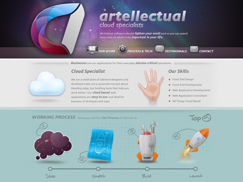 Artellectual web design icon rocket writing ui space process buatoom cloud logo light hand paper