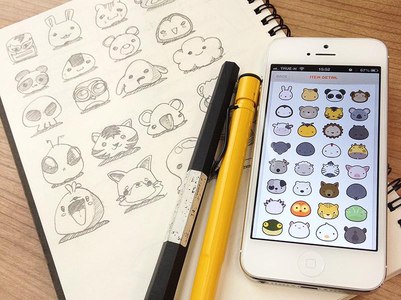 Animal Parade sketch character sticker animal buatoom process cute camera icon