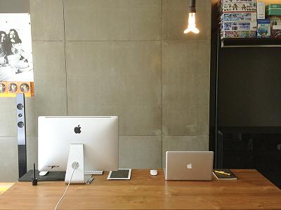 my workspace concrete desk workspace buatoom light bulb