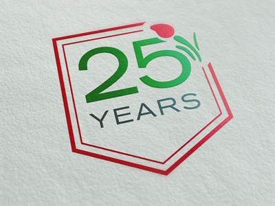 AHF: 25th anniversary logo logo 25 years anniversary health care hemophilia tulip flower blood drop