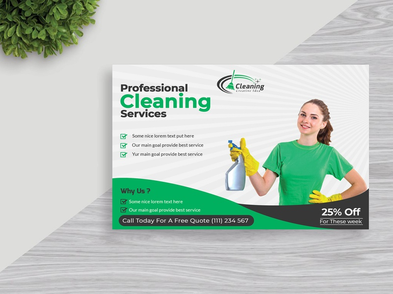 Cleaning Service Postcard Design website app minimal graphic design vector creative animation business card type web logo character identity illustrator clean lettering typography illustration design branding