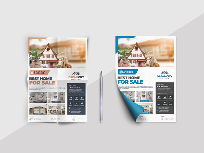 Real Estate Flyer mobile minimal brand website app business card graphic design animation creative web logo character identity illustrator clean lettering typography illustration design branding