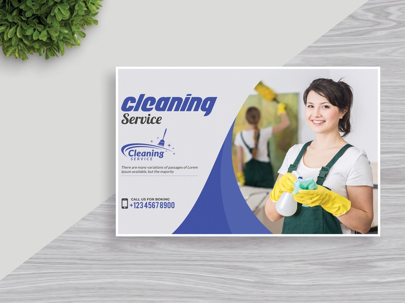 Cleaning Service Postcard Design website app vector minimal graphic design animation creative type business card web logo character identity illustrator clean lettering typography illustration design branding
