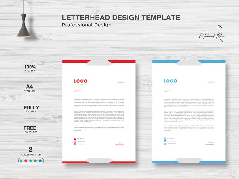 Letterhead Design web app icon ui animation vector business card illustration design typography branding letterhead template