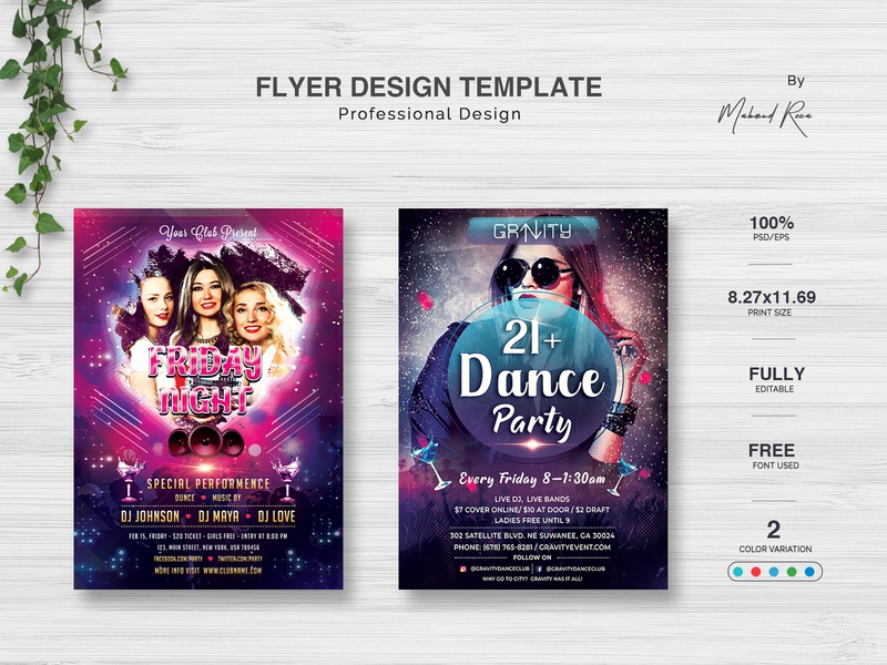 Party Flyer Design logo character lettering clean illustrator design illustration typography branding poster design party flyer
