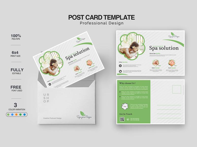 Spa Postcard Design logo character lettering clean illustrator design illustration typography poster design postcard branding spa logo