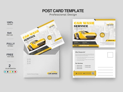 Car Servicing Postcard Design