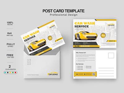 Car Servicing Postcard Design design clean identity logo lettering illustrator illustration typography branding postcards flyer postcard design