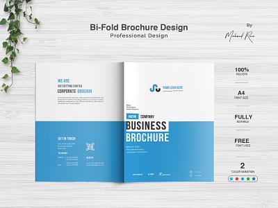 Bi Fold Brochure Design identity character lettering business card illustrator design illustration typography branding mockup psd mockup bi fold
