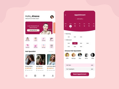 Salon & Beauty Services Mobile App design