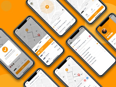 Attractive Taxi App UI Kit for iOS