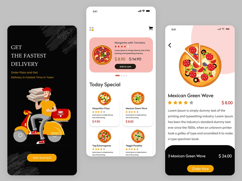 Pizza Delivery Mobile App UI food delivery app uber clone food app pizza menu pizza logo logo illustration app development on demand on demand app online shopping online mobile mobile application mobile design mobile app ui mobile app pizza delivery pizza box pizza