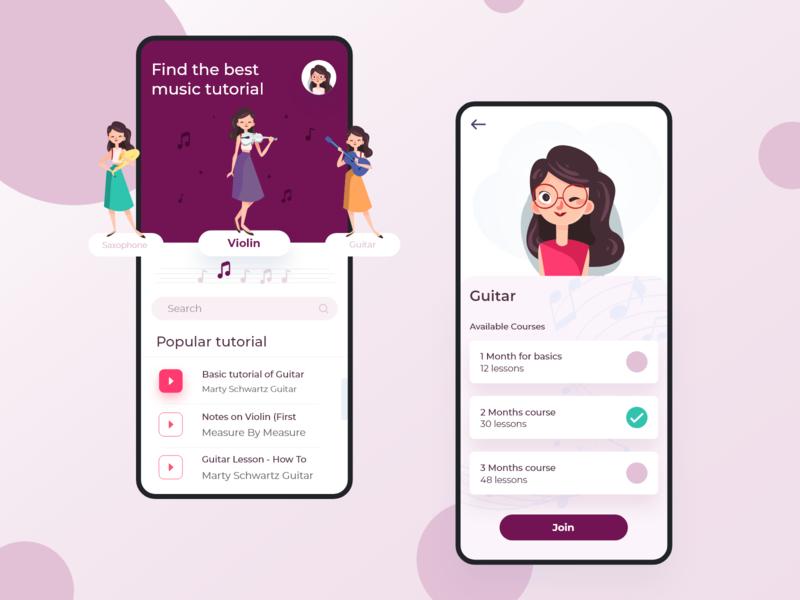 Music Learning App app ui app design mobile app design learning platform play music player tutorial enjoy mobile learning management system learning app learning music app music app clone app development