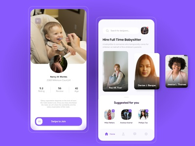 Babysitting App UI uiux ui desgin design art app designers babysitter app designer ui ui deisgn ui kit ui  ux design illustration design app ui mobile app design app design ui design ui ux