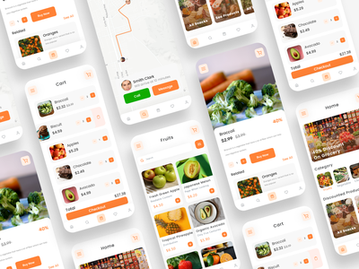 Grocery Delivery App UI design ux ui illustration app concept app development logo app design ecommerce grocery store grocery delivery grocery app app ui ux uidesign uiux app ui