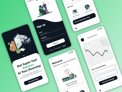 On-Demand Pickup & Drop Service UI ui app ui app design design ios app mobile design mobile app design product design order map tracking pickup courier delivery on your address delivery illustration tracking app delivery application design parcel application design courier delivery application