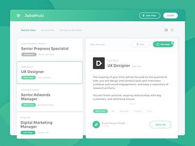 JobsMobi Career UI sketch clean web design green website interface design ux ui web