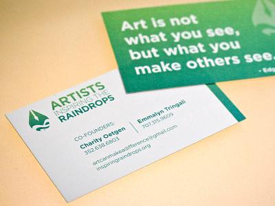 Artist Inspiring the Raindrops business card business card design artist inspiring raindrops teal blue green gradient branding art collateral