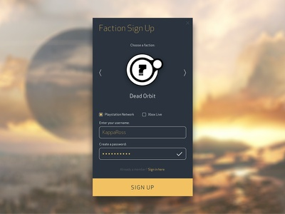 Daily UI 001 – Sign Up dead orbit faction destiny ux ui pop up page mobile sign up 001 dailyui