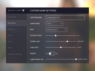 Daily UI — 007 Settings game destiny design ui ux interface settings 007 dailyui