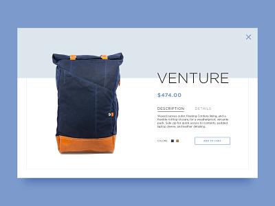 Daily UI — 012 E-Commerce Shop page item backpack ux ui interface web shop e-commerce 012 dailyui