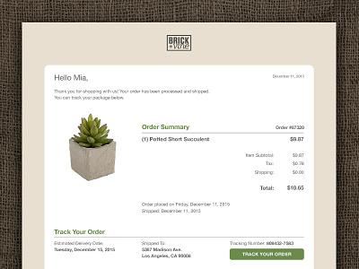 Daily UI — 017 Email Recipt succulent ux ui web interface recipt email 017 dailyui
