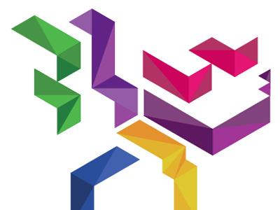 Isometric Type typography isometric grid analogous geometric shapes purple green yellow pink blue design