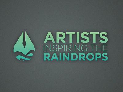 Artists Inspiring the Raindrops logo ripple brush drop droplet green raindrop blue artist non-profit organization typography