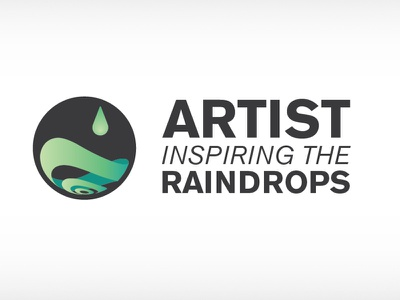 Artists Inspiring the Raindrops logo comp logo lock-up comp non-profit organization ripple drop rain raindrops green aqua dark grey fibonacci sequence