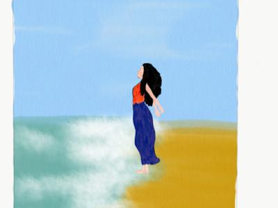 On the beach wind waves girl beach