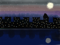 City by the River in Night
