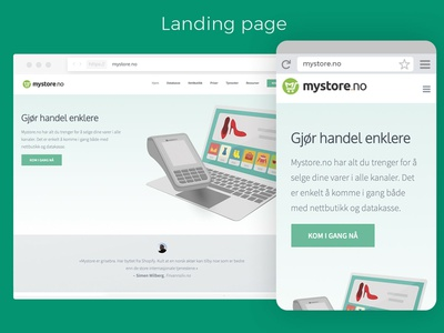 Landing page for mystore.no
