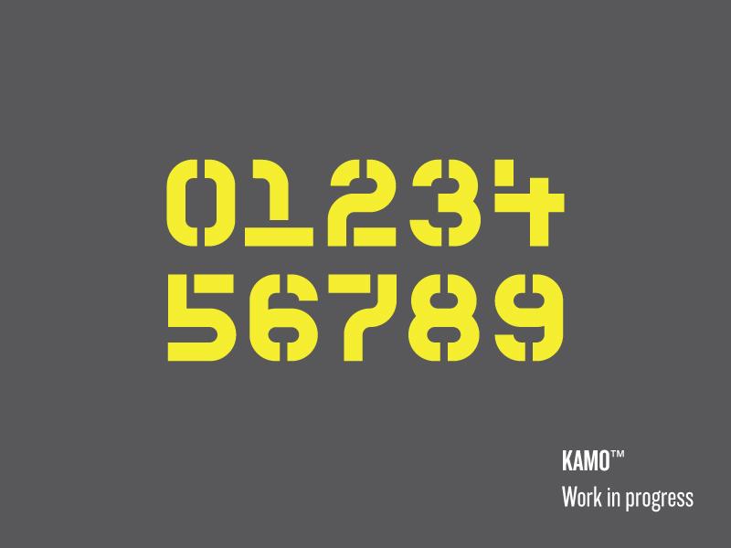 Kamo Stencil typeface font modular monospaced stencil kamo typography numerals type
