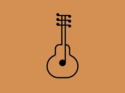 2D Guitar ‒ Icon guitar icon line note music geometric circle square dot