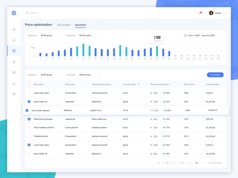 Key word quality control ux ui design ui web app website design webdesign bar chart stats statistics desktop data analytical analytics admin chart profile dashboard table