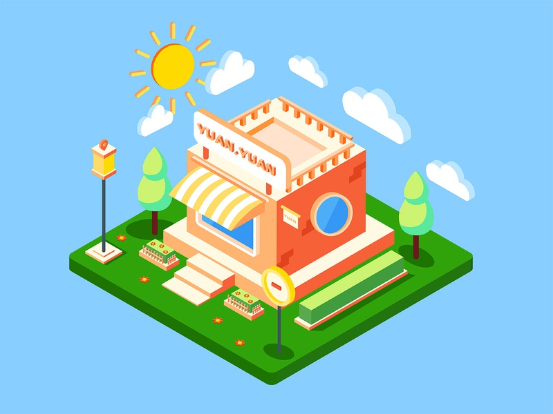 My shop furniture store isometric beach 花卉 插图