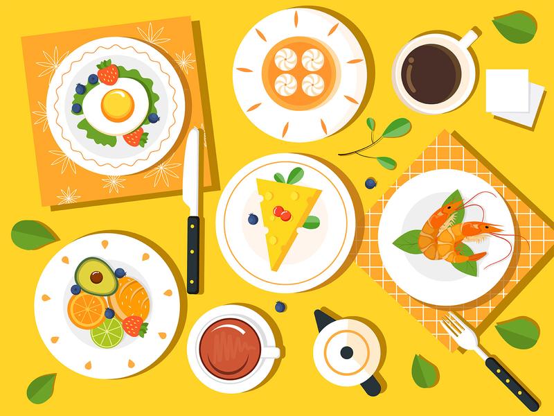 My breakfast life health delicious breakfast tableware furniture 插图 food