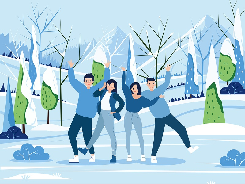 Winter with friends friends illustration forest winter