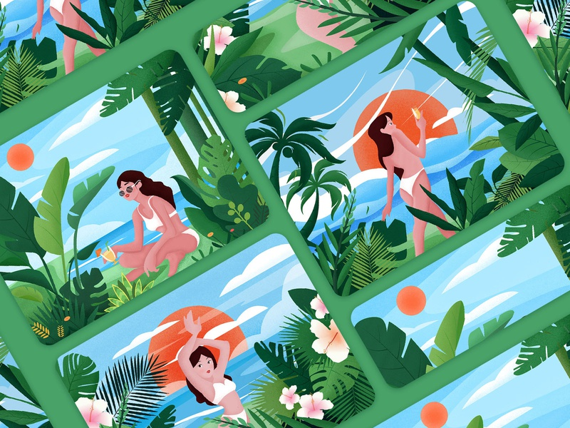 Summer beach illustration collection girl beach summer design plant 插图