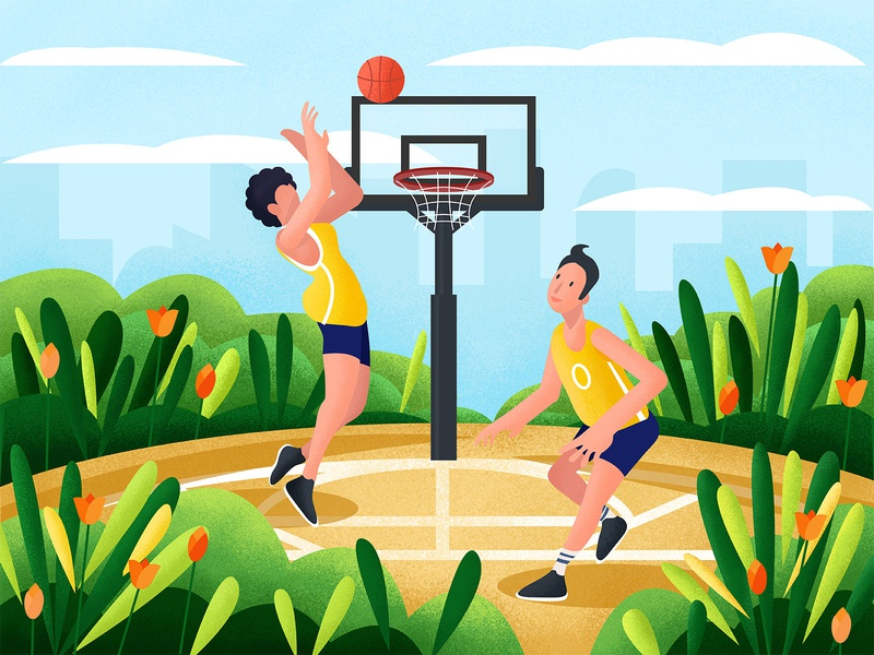 Boy playing basketball in the park illustration 插图 花卉 health motion basketball