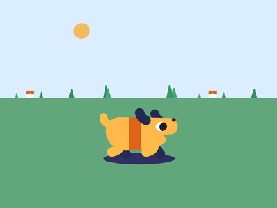 Walk Fur-ever animation 2d abduction alien ufo puppy dog motiongraphics yellow minimal flat animation aftereffects illustrator design vector