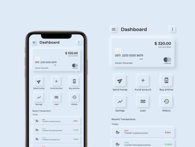 Neumorphic bank app UI